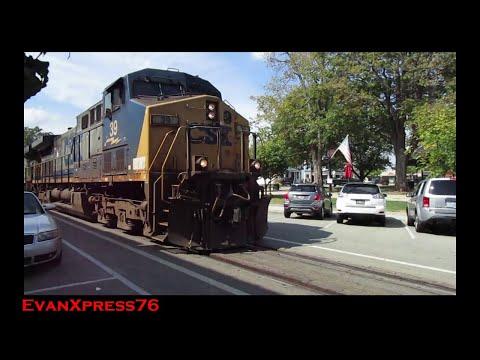 Up-Close View Of A CSX Train Street Running In La Grange, Kentucky