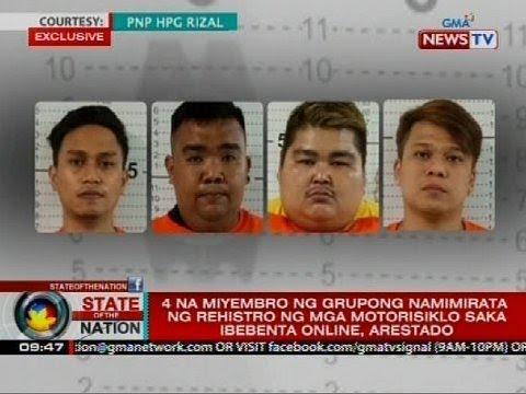 SONA: 4 Na Miyembro Ng Grupong Namimirata Ng Rehistro Ng Mga Motorisiklo Saka Ibebenta, Arestado