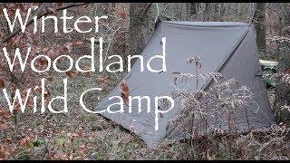 Winter Woodland Bushcraft Camp. Tarp Shelter. Spit-Roast. Firebox Pancakes.