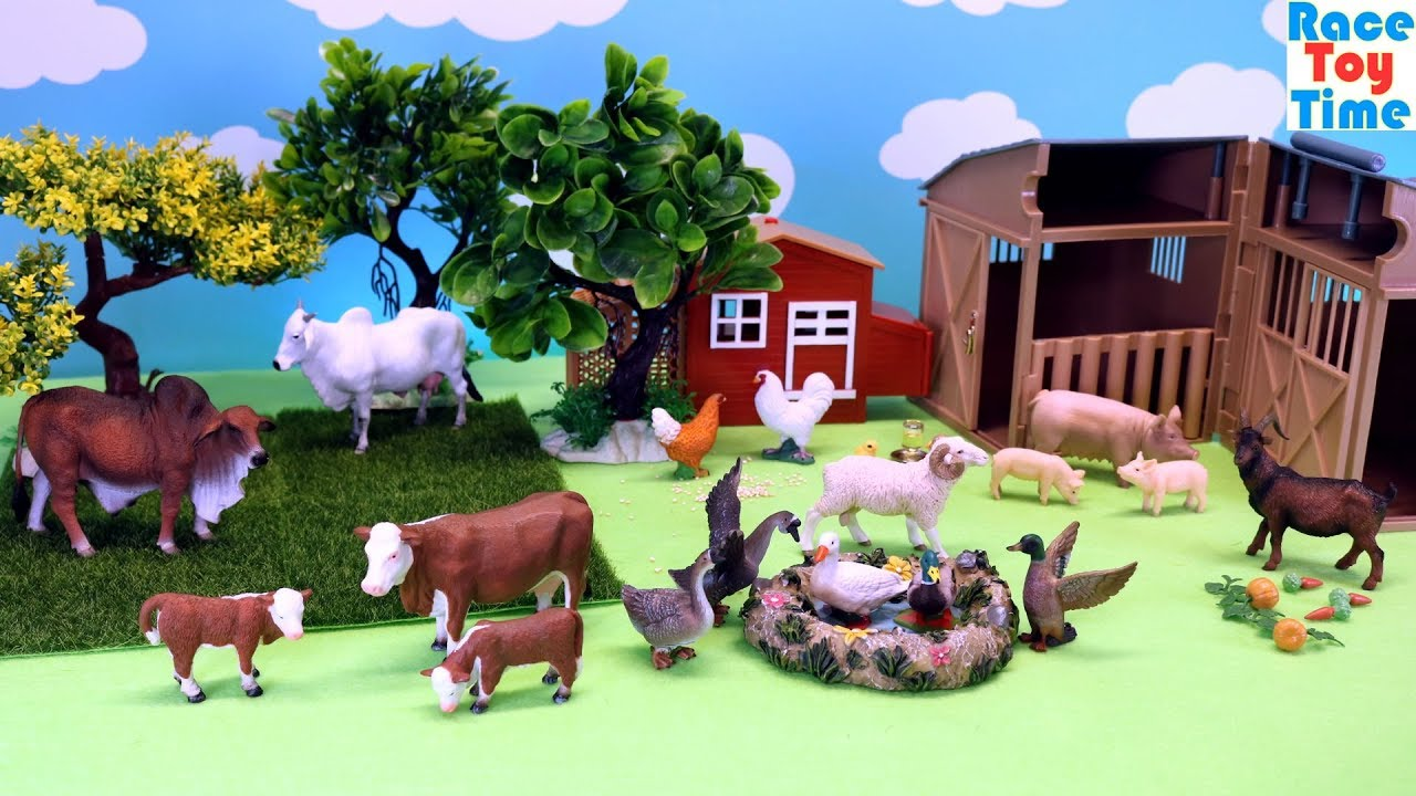 Farm Animals Figures Toys For Kids Learn Animal Names - YouTube