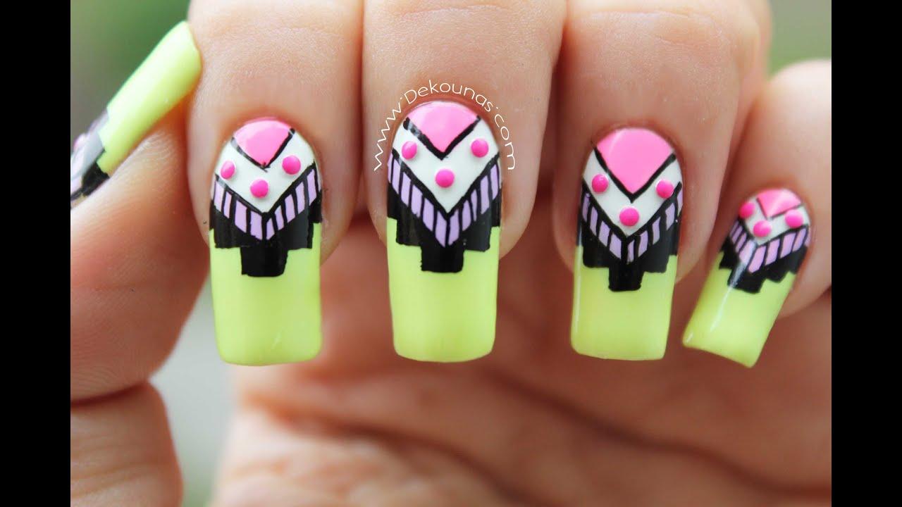 Decoración de uñas tribal - Tribal nail art - YouTube