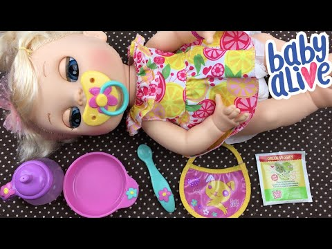 Feeding Baby Alive Real Surprises Eloise Green Veggies Doll Food