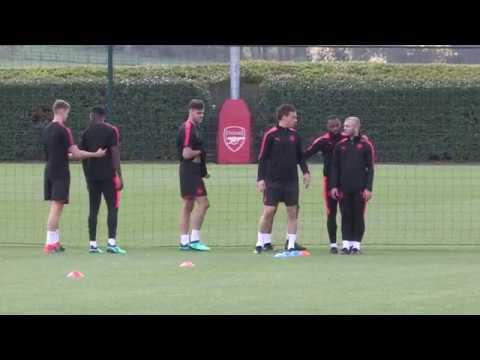 Arsenal train ahead of Europa League semi-final with Atletico Madrid
