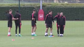 Arsenal train ahead of Europa League semi-final with Atletico Madrid