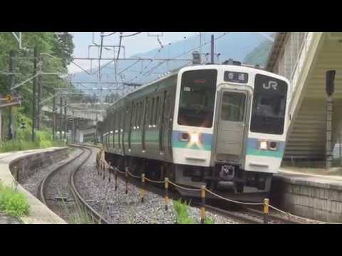 【JR East Chuo Line/ Central west line  localtrain 211series train】日出塩駅 みどり湖駅 すずらんの里駅