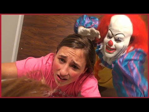 Scary Killer Clown Chases us in The House - Girls Run and Hide Scared