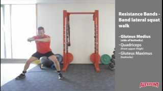 Resistance band lateral squat walk