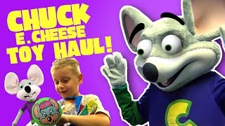 Chuck E Cheese Toy Haul!! Playing Arcade Games, Playground & Funny Family Fun