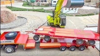RC truck excavator heavy transport FAIL! Big rescue!