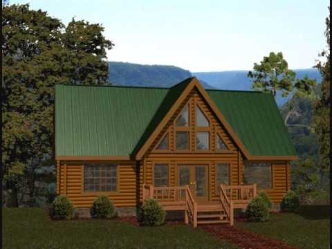 Battle creek log homes 1300 1400 square foot plans youtube for Square log cabin plans
