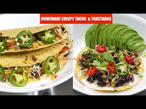 Homemade Crispy Tacos & Tostadas Beans & Corn Vegan Vegetarian Video Recipe | Bhavna's Kitchen