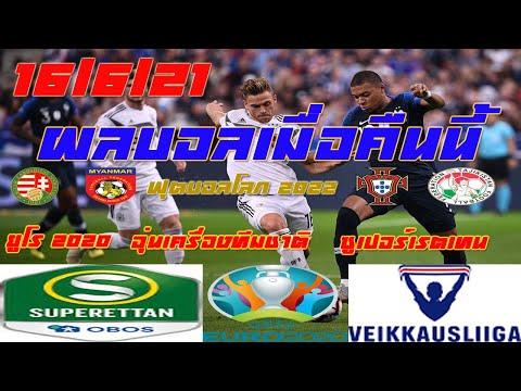 ผลบอลเมื่อคืนนี้/ฟุตบอลโลก 2022/ไวเคาส์ ลีก้า ฟินแลนด์/ซูเปอร์เรตเทน สวีเดน/ยูโร 2020/16/6/21