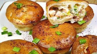 Заливные рыбные пирожки в формочках для маффинов. Маленькие пирожки с семгой из заливного теста.