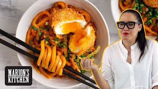 Crispy Egg, Bacon & Kimchi Noodles - Marion's Kitchen