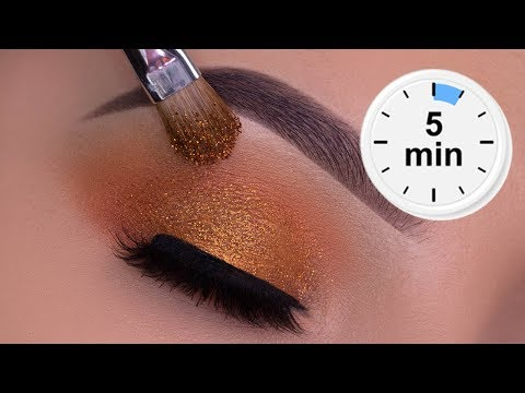 5 MINUTE Easy Sparkly Copper Eye Makeup Tutorial thumbnail