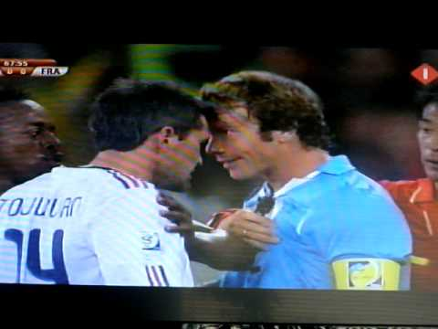 Toulalan Yellow Card and Fight Uruguay France 2010
