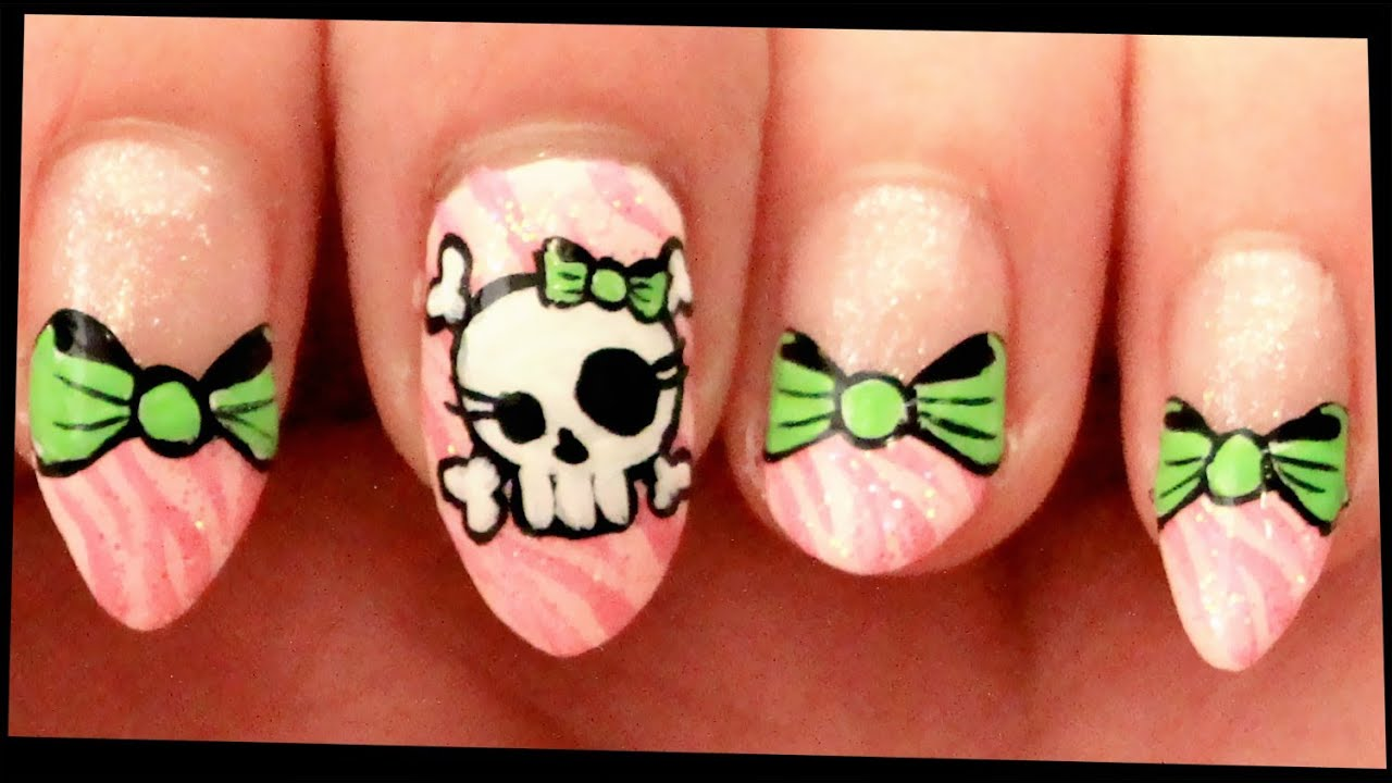 Skull bows on pink zebra nail art youtube prinsesfo Image collections