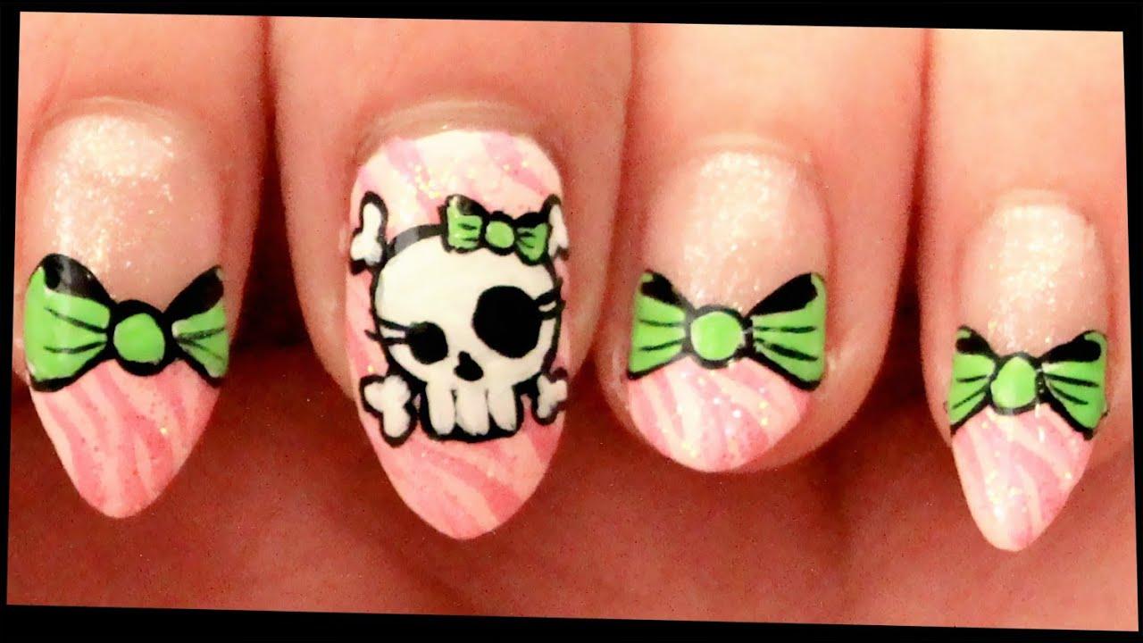 Skull & Bows on Pink Zebra nail art - YouTube