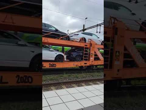 Tesla Model 3 and Model Y cars transported on train in Sweden