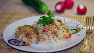 Рис с курицей и овощами в рукаве