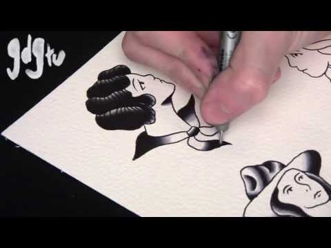 How To Paint Old School Tattoo Flash Pin-Up Designs Tutorial