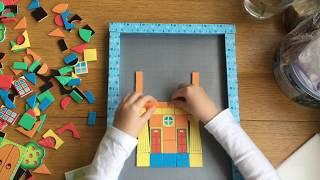 Маша строит дом из магнитной мозаики. Magneticus color mosaic !