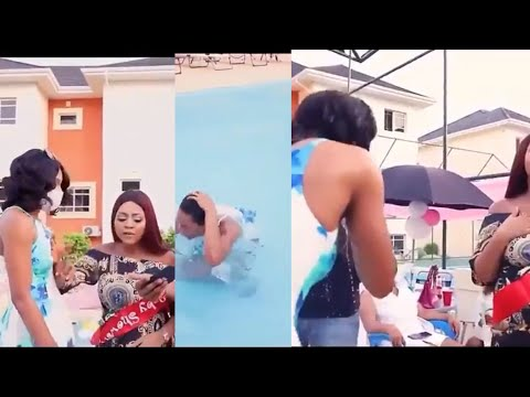 Regina Daniels Angrily Pushes Her Staff Into A Swimming Over An Argument