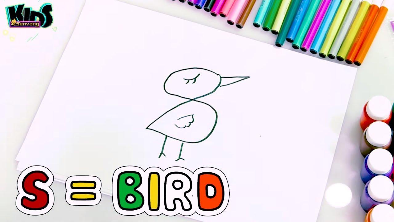 DIY - How to draw a Bird and Snake with Alphabet - Dạy bé vẽ con vật bằng chữ cái