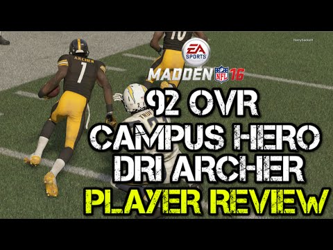 92 OVR Campus Hero Dri Archer | Player Review | Madden 16 Ultimate Team Gameplay | MUT 16