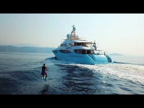Wakeboard rental - Wakeboarding behind a Superyacht