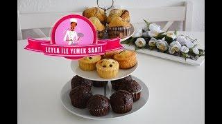 Bir Tarif ile Üç Farklı Muffins Tarifi - Topkek - Sade Kek - Çikolatalı Kek - Zebra Kek