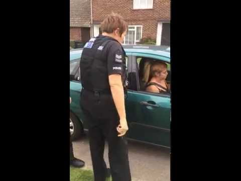 Woman driver blocks road in Ford Focus and refuses to move -  Witham, Essex. Police get involved