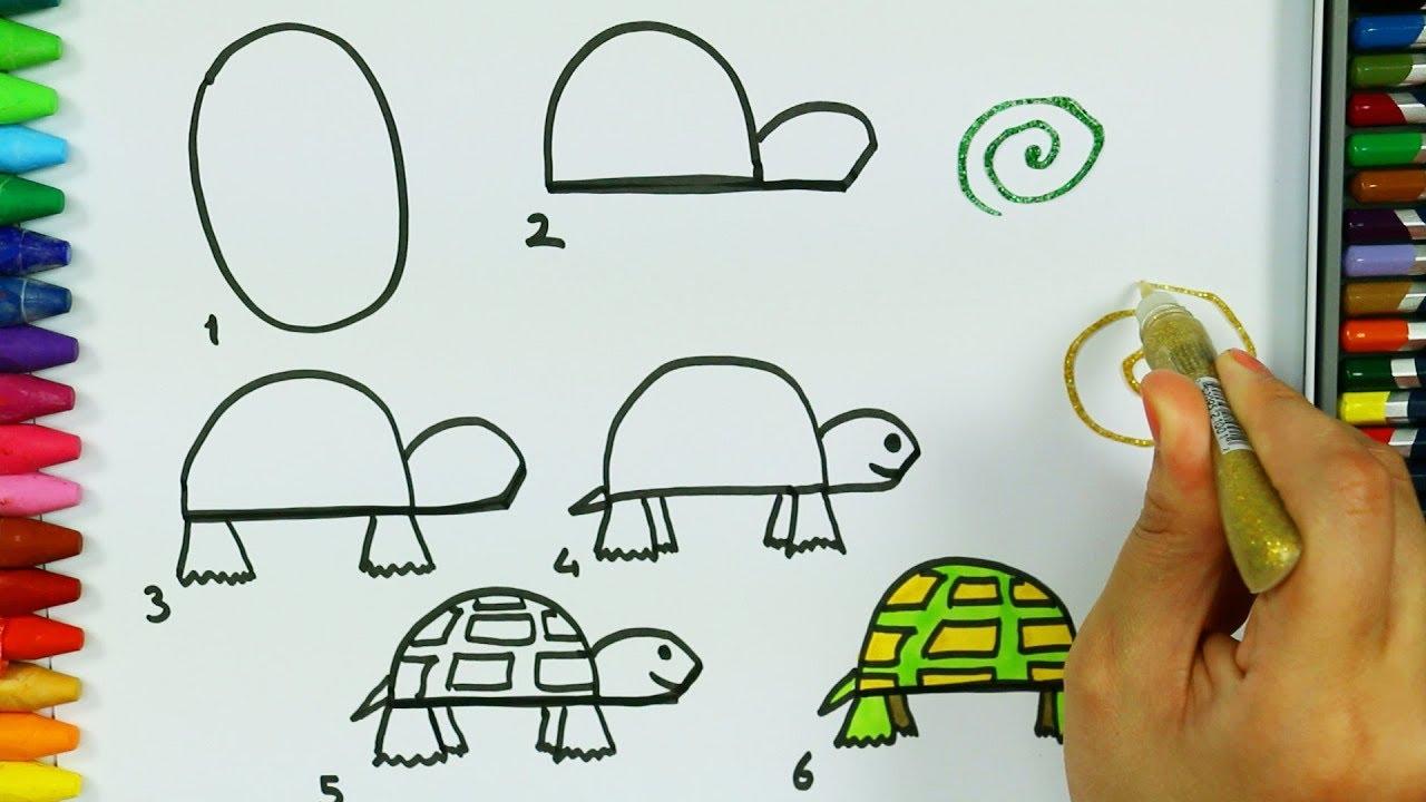 Wie zeichnet man Schildkröte 🍃   Malbuch   Farben für Kinder   Wie ...
