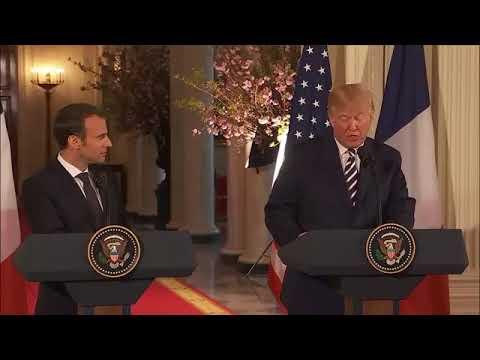 Conférence de presse de Donald Trump et Emmanuel Macron á la maison blanche