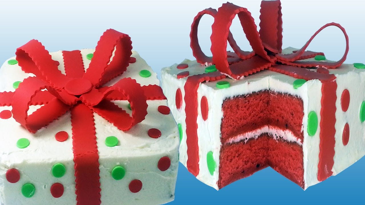 Christmas Cake Decoration Present : Red Velvet Christmas Present Cake - How To - YouTube