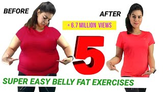 5 Easy Exercise To Lose Belly Fat At Home For Beginners  | How To Get Flat Stomach In A Week Workout