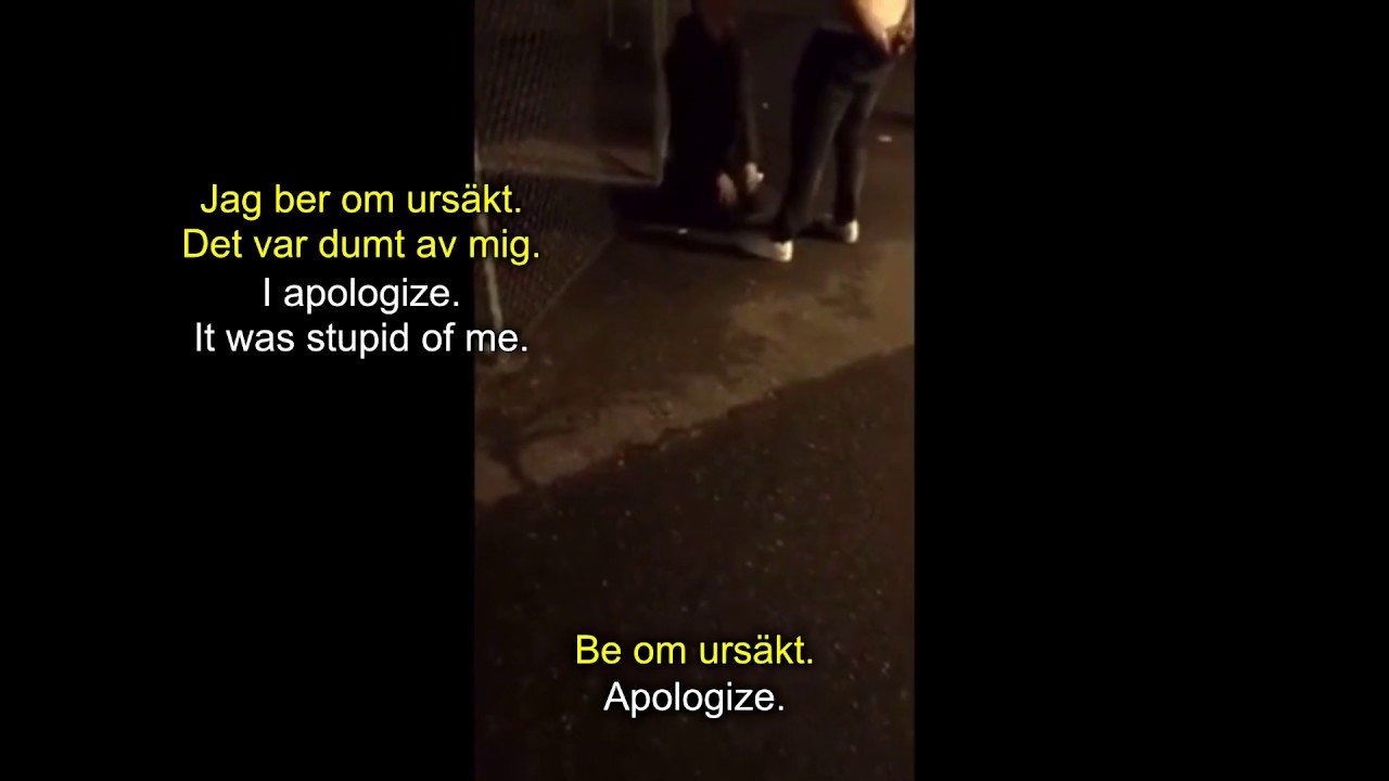 Migrant forces Swedish man to kneel and apologize (English and Swedish subtitles)