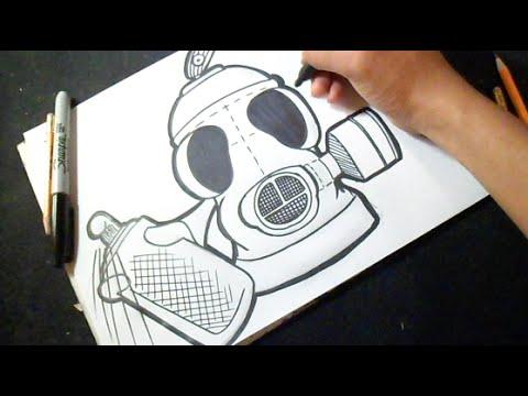 Cmo dibujar Lata de spray en Forma de MASCARA ANTIGAS  YouTube