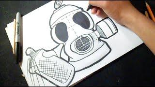 Cómo dibujar Lata de spray en Forma de MASCARA ANTI-GAS
