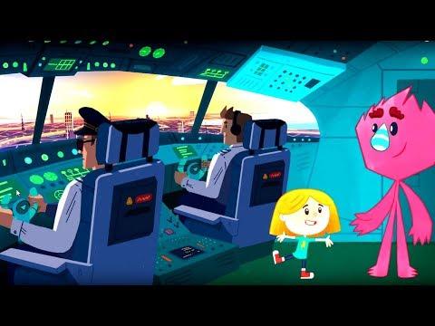 Катя и Эф. Куда-угодно-дверь - Школа полётов - мультики для детей про самолеты
