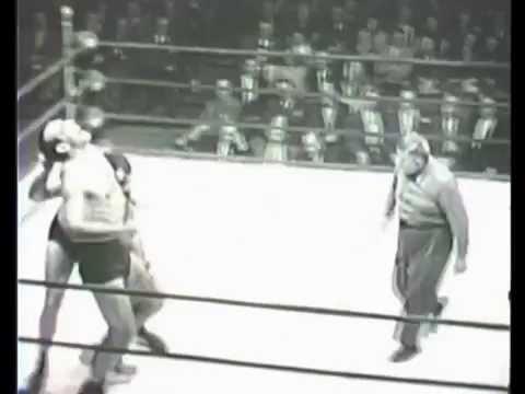 Primo Carnera vs. Laverne Baxter 1950's professional wrestling match
