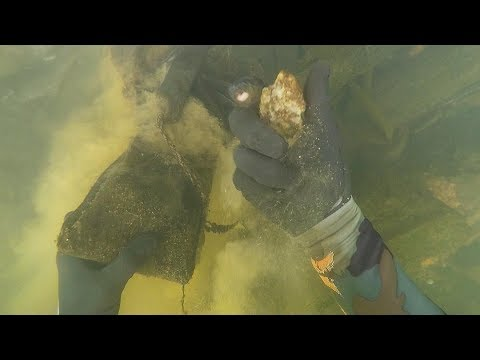 Found  Possible  Human Bone, 2 Knives and Diamonds Underwater in River! (Scuba Diving) | DALLMYD