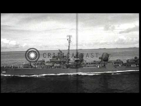 Views from USS Mount McKinley; USS Melvin passing by...HD Stock Footage