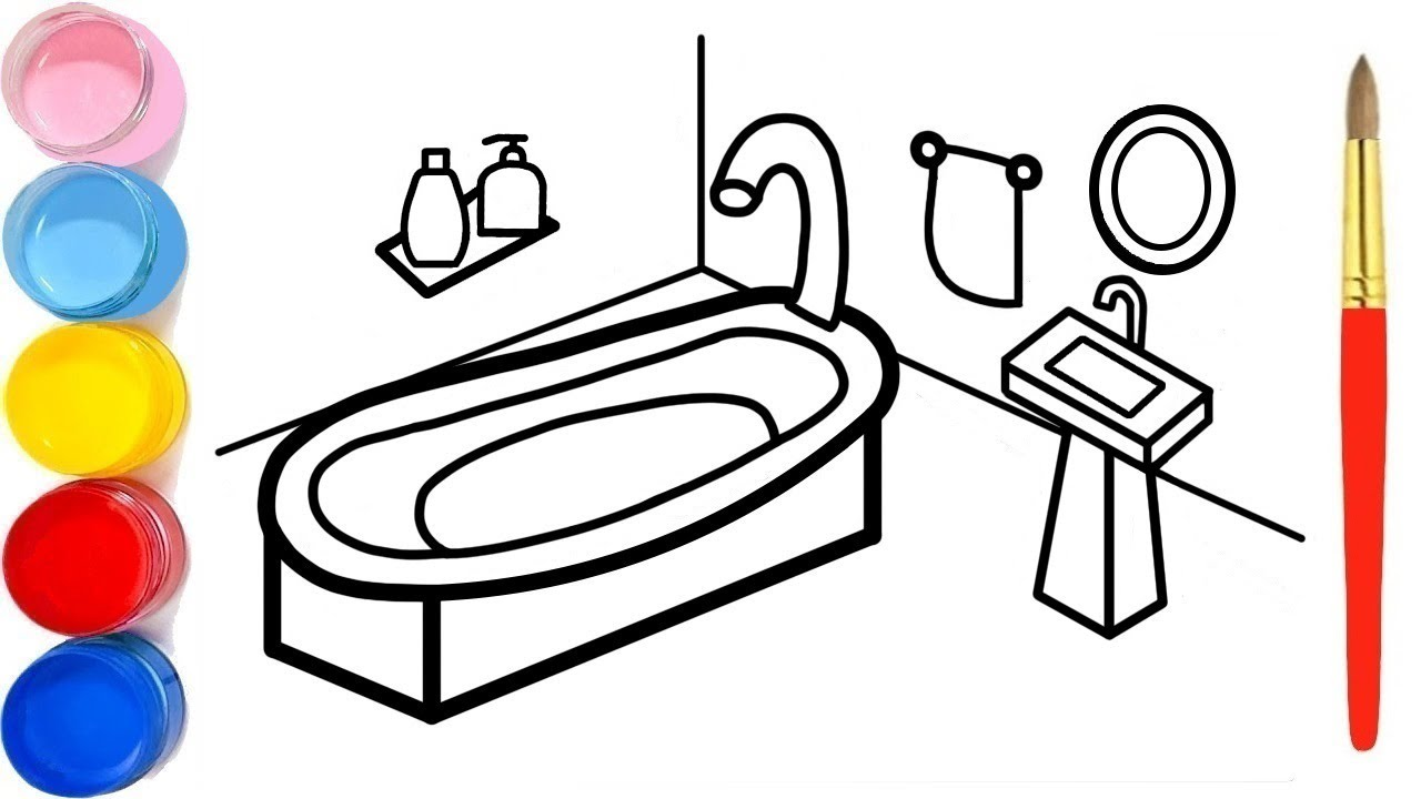 Coloring Bathroom, Tub, Washbasin with Paint and Drawing