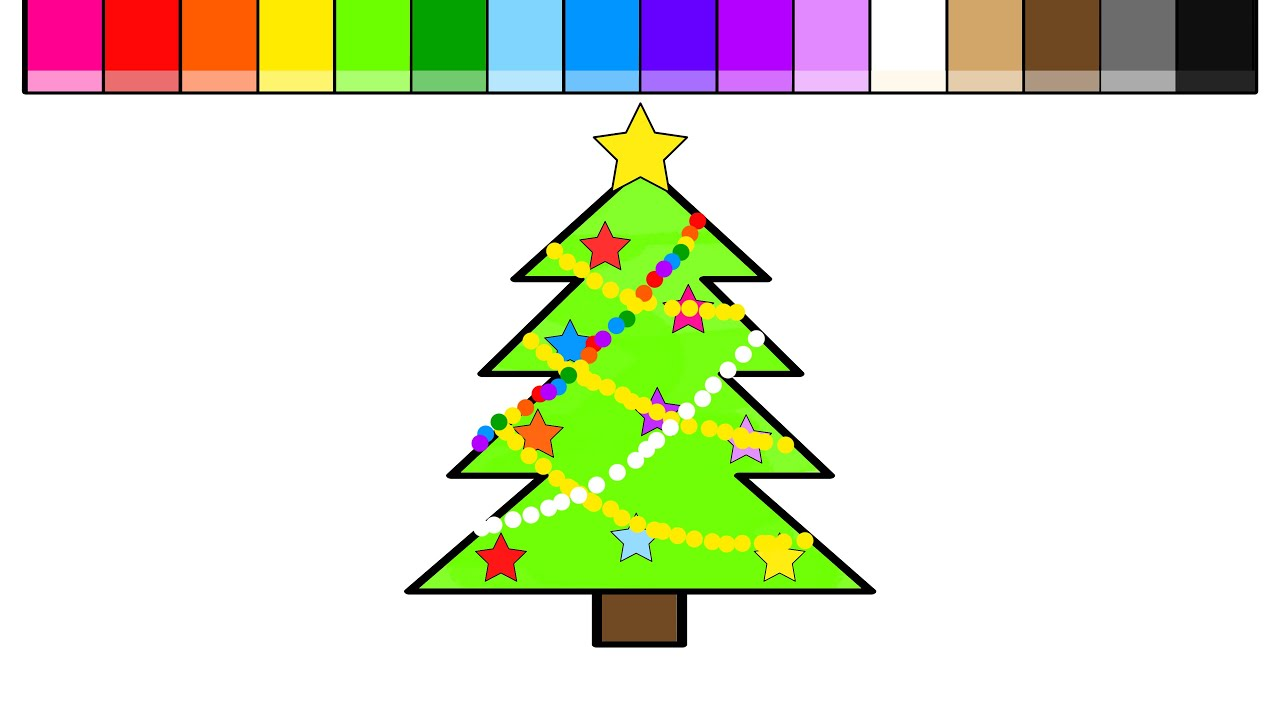 Learn Colors For Kids And Color Christmas Tree Coloring Pages