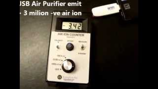 Testing GMM Technoworld USB Ionizer Air Purifier using AlphaLab Inc Air Ion Counter