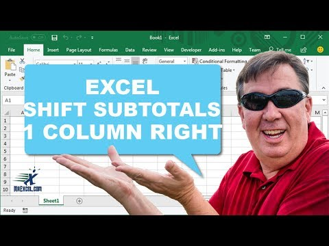 Learn Excel - Shift Subtotals Right 1 Column - Podcast 2168
