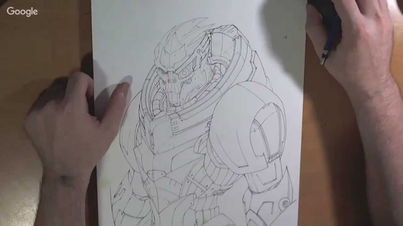 Line Art Effect Photo : Realtime: drawing mass effect legion youtube