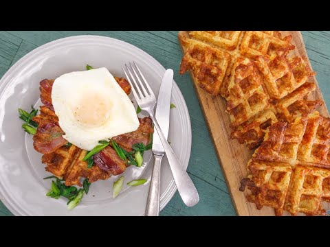 Rachael's Potato Waffles With Bacon, Eggs And Charred Green Onions | Rachael Ray Show