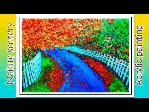 Acrylic Nature scenery || road side trees  painting with acrylic colours ||